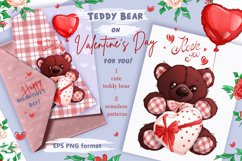 Teddy bear on Valentine's Day. Clipart and patterns. Product Image 1