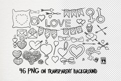 Hand drawn valentines black and white clipart set Product Image 4