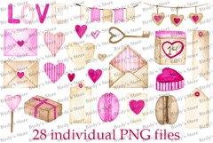 Watercolor Valentine's clip art set Product Image 2