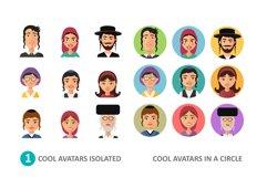 Jewish avatars family cartoon flat Product Image 2