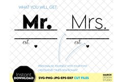 Wedding sign svg file, Mr and Mrs SVG, wedding shirt svg Product Image 3