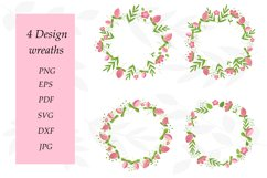 Flower Wreath PNG. Wreath Flower Pink. Sublimation Flowers Product Image 1