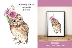 digital product watercolor illustration cute owl with flower Product Image 2
