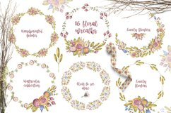 Cute owls clipart. Watercolor collection with floral forest Product Image 7