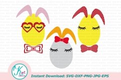 Bunny Ears eggs face bundle svg dxf toddler oneness cut file Product Image 3