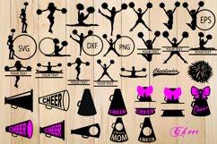 Cheer SVG Bundle, Cheerleader Silhouette, Cheer Megaphon Product Image 1