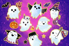 Cute Halloween Clipart, Halloween clipart, ghost clipart Product Image 1