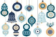 Blue Christmas Ornaments, Balls, Baubles, Bells Clip Art Set Product Image 1