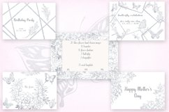 Card templates and floral illustrations in silver Product Image 3