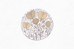 Hand-drawn boho clipart | Beige wildflower clipart Product Image 2