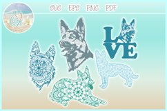 German Shepherd Dog Mandala Zentangle Svg Dxf Eps Png Pdf Product Image 1