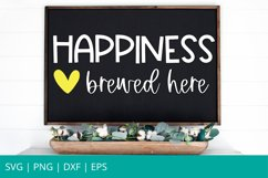 Happiness Brewed Here SVG, Coffee Bar SVG, Glowforge SVG Product Image 1
