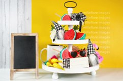 Summer Theme Farmhouse 3 Tier Tray and Wood Chalkboard Sign Product Image 1