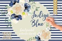 Watercolor Indigo Blue floral clip arts Product Image 1