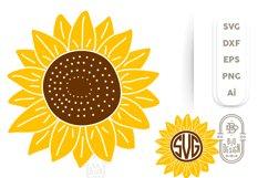 Sunflower SVG & Sunflower Monogram Frame SVG Cut Files Product Image 1