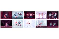 Couples dancing flat color vector illustrations set Product Image 1