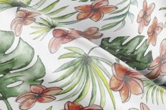 Watercolor tropical leaves & flowers seamless pattern. Product Image 5