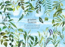 Hand Painted Watercolor Green Leaf Clip Art Product Image 1