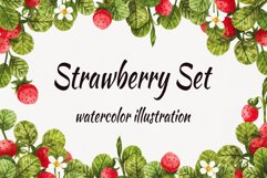 Watercolor strawberry, watercolor clipart with berries and l Product Image 1