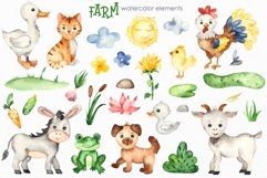 Farm Watercolor Clipart. Cards, frames, seamless patterns Product Image 9