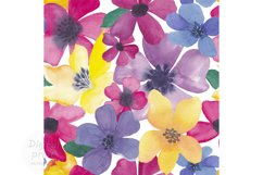 Watercolor colorful flowers seamless pattern Digital paper Product Image 1