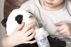 Girl makes inhalation nebulizer panda toy at home Product Image 1