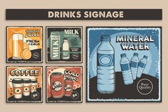Retro Classic Drinks Menu Poster Signage set Product Image 1