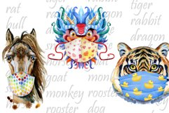 Watercolor animals in protective mask Product Image 3
