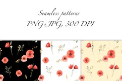 Red Poppies and Wild Grasses, Watercolor clip art, PNG, JPG Product Image 4