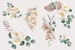 Roses and Orchids watercolor arrangements set Product Image 2