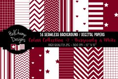 16 seamless Digital Papers - Burgundy and White- HC149 Product Image 1