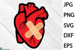 Patched Heart Design - Clip art / Cutting Files 1344c Product Image 1