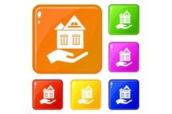 Home protection icons set vector color Product Image 1