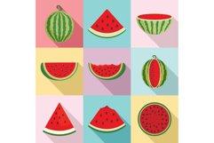 Watermelon icons set, flat style Product Image 1