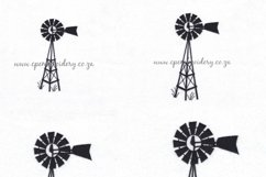 Simple Winged Farm Windmill Embroidery Design Product Image 1