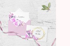 Purple Pink Violet Watercolor Flower Clipart Set Product Image 6