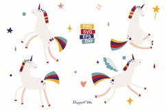 Unicorn and Rainbow Clipart, SVG, PNG, DXF, EPS Product Image 2