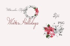 "Christmas watercolor clipart""CHRISTMAS FLORAL"" Product Image 3"