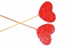 7 Red Fabric Hearts on Sticks Crafter Background Product Image 2