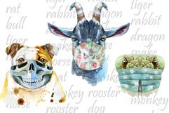 Watercolor animals in protective mask Product Image 2