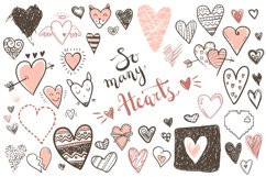 Vector doodle hearts, set Product Image 1