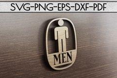 Men Sign Papercut Template, Toilet Decor, SVG, PDF, DXF Product Image 4