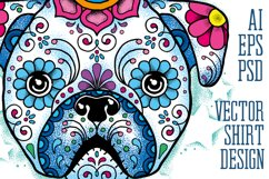 Puppy Calavera Tattoo Style Vector Product Image 1