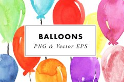 Watercolor Balloons Party Illustrations Clip Art PNG & EPS Product Image 3