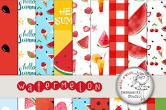 Watermelon digital papers, Picnic papers, Watermelon scrapbook papers, Red and green Watermelon Patterns, Printable papers, Planner sticker  Product Image 1