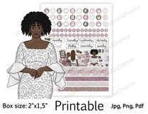 """African American Mom Boss Printable Sticker Box Size 2""""x1,5"""" Product Image 6"""