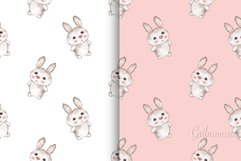 Cute rabbits. 2 cute seamless patterns with baby animals Product Image 1
