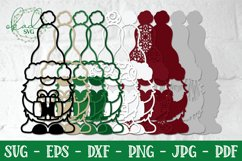 3D Christmas Gnome Bundle, Layered Gnome, 3D Gnome SVG, DXF Product Image 4