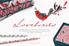 Lovebirds folk art bird illustrated collection Product Image 2