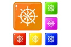Steering wheel icons set vector color Product Image 1